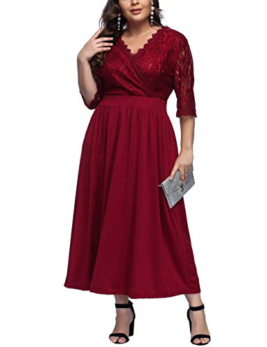 e0795fdf7fe FeelinGirl Women s Plus Size Dresses Lace V Neck Half Sleeves Long Cocktail  Party Dress Red XL