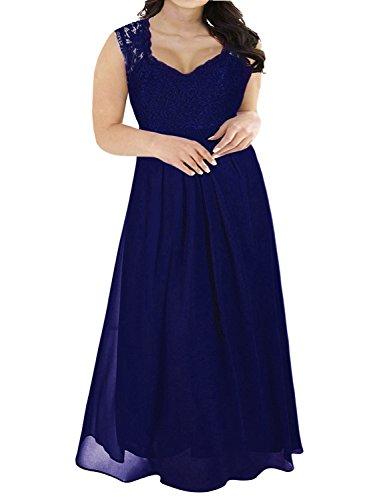 25253be52af ... Nemidor Women s Lace Top Deep V-Neck Plus Size Evening Vintage Maxi  Dress ...